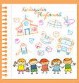Kindergarten Kids Characters and Playground Set vector image vector image