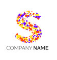letter s logo with purple yellow red particles vector image vector image