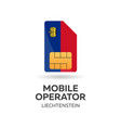 liechtenstein mobile operator sim card with flag vector image vector image