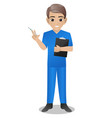 male nurse holding injection and clipboard vector image