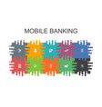 mobile banking cartoon template with flat elements vector image vector image