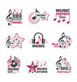 music notes logo badges with song and sound vector image