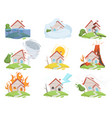 nature disaster damage fire volcano water wind vector image vector image