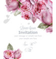 peony flowers watercolor invitation card vector image vector image