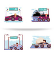 people driving with driver safely icons vector image vector image