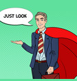 pop art happy super businessman in red cape vector image vector image