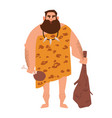 primitive archaic man dressed in clothes made of vector image