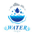 pure water abstract logotype for use in mineral vector image vector image
