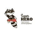 Raccoon in Superhero costume character isolated on vector image vector image
