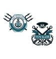 Retro voyager and seafarer nautical badges vector image vector image