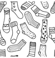 seamless pattern of doodle socks for web vector image