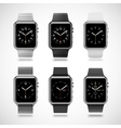 Set of 6 modern shiny smart watches vector image vector image