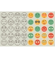 Set of outline and colorful emoticons emoji vector image vector image