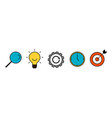 simple line icon set search idea process time vector image vector image