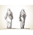 sketch two muslim women walking back view hand vector image