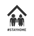 stayhome hashtag sign with two older peoples vector image vector image