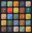 Tool line flat icons with long shadow vector image vector image