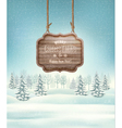Winter landscape with a wooden ornate Merry vector image