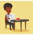 Woman reading newspaper and drinking coffee vector image vector image