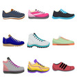 woman sneakers set in cartoon style vector image vector image