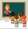 woman teacher with students in the classroom vector image vector image