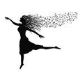 woman dancing with music note vector image