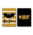 Happy Halloween Black bat on a golden background vector image