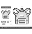 School backpack line icon vector image