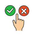 accept and decline buttons color icon vector image vector image