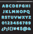 blue striped alphabet set vector image vector image