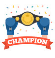 boxing holding championship belt vector image