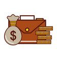business briefcase money coins bag vector image vector image