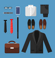 businessman clothes fashion mens items pants vector image vector image