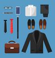 businessman clothes fashion mens items pants vector image