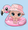 cartoon bagirl swimming on pool ring vector image