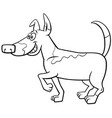 cartoon spotted dog coloring book page vector image vector image