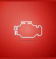 check engine icon isolated on red background vector image
