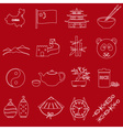 China theme red and white outline icons set eps10 vector image vector image
