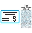 Dollar Cheque Icon with 1000 Medical Business vector image vector image