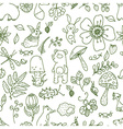 Doodle forest floral seamless pattern with forest vector image