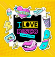 fashion patch cool disco composition poster vector image vector image