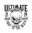 fight club skull t shirt print boxing wrestling vector image