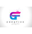 gf g f letter logo with shattered broken blue vector image vector image