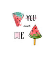 hand drawn funny background with watermelon vector image