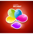 Happy Birthday theme colorful air balls on red vector image vector image