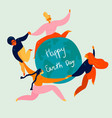 happy earth day holiday group women and globe vector image vector image