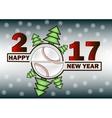 Happy new year 2017 and baseball vector image vector image