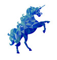 isolated blue unicorn in low poly style on a vector image vector image