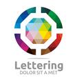 lettering o rainbow alphabet design vector image