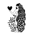 long hair woman with heart in hand you vector image vector image